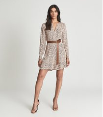 reiss billie - paisley printed mini dress in pink, womens, size 14