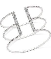 inc gold-tone crystal triple row flex bracelet, created for macy's