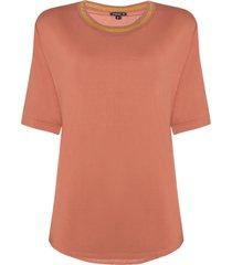 blusa dudalina manga curta decote careca retilínea gola lisa feminina (rosa claro, gg)