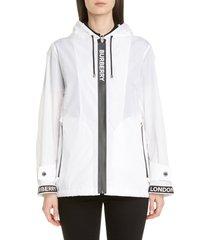 women's burberry everton logo tape hooded rain jacket, size 12 - white