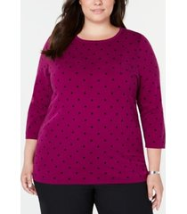 karen scott plus size printed 3/4-sleeve sweater, created for macy's
