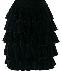 chanel pre-owned 2001's ruffled skirt - blue