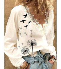 camicetta a maniche lunghe con stampa di uccelli in fiore patchwork in pizzo per donna