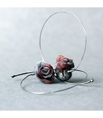 srebrne kolczyki koła metalic roses
