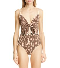 women's johanna ortiz block print tie front one-piece swimsuit, size x-small - brown