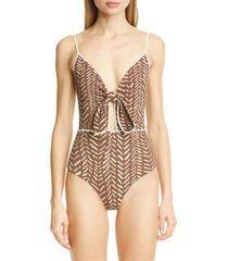 women's johanna ortiz block print tie front one-piece swimsuit