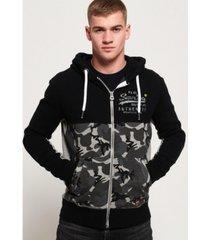 superdry vintage-like logo camo zip hoodie