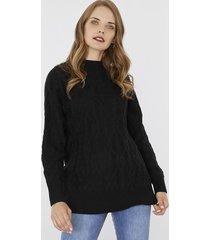 sweater trenzas negro corona