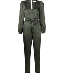jonathan simkhai zyana charmeuse silk jumpsuit - green