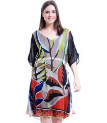vestido 101 resort wear crepe estampado folhas colorido