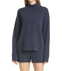 women's vince mock neck long sleeve stretch cotton sweatshirt, size x-large - black
