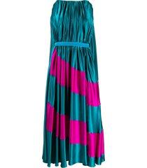 roksanda karema cape-back pleated dress - blue