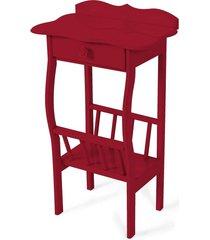 mesa lateral apoio sala revisteiro vinho - vinho - dafiti