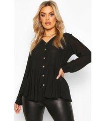 plus geplooide peplum blouse met knoop detail, zwart