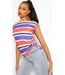 striped rib knot side top, navy