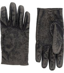 kagawa gloves stone-washed press stud gloves - grey