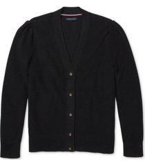 tommy hilfiger adaptive women's puff-shoulder cardigan with magnetic buttons