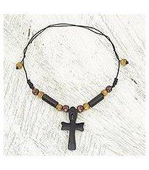 ebony and bamboo pendant necklace, 'african ankh' (ghana)