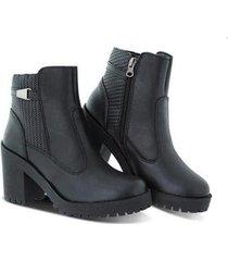 bota coturno feminino salto médio tratorado zíper leve macia - feminino