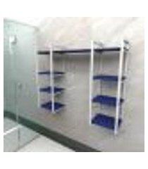 prateleira industrial banheiro aço cor branco 120x30x98cm (c)x(l)x(a) cor mdf azul modelo ind52azb