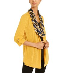 ny collection layered-look removable-scarf cardigan