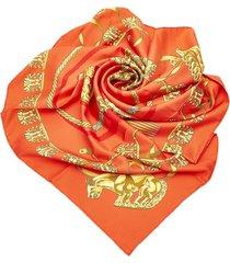 hermes les cavaliers dor silk scarf red sz: