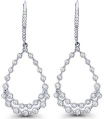 macy's cubic zirconia rhodium plated bezel diamond cut pear shaped dangling lever back earrings
