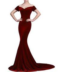 lemai mermaid off shoulder v neck long velvet prom evening dresses burgundy us 6
