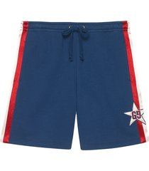 gucci cotton jersey shorts with gg star - blue