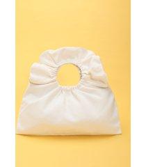 bolso de mano mínimo fruncido liso bolsa