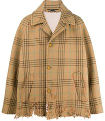 marni oversized distressed jacket - brown