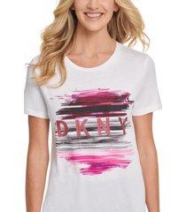 dkny metallic logo graphic t-shirt