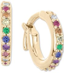 """elsie may lab-created multi-gemstone (1/6 ct. t.w.) & diamond (1/20 ct. t.w.) extra-small hoop earrings in 18k gold-plated sterling silver, 0.35"""""""