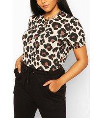 plus leopard rib t-shirt, brown