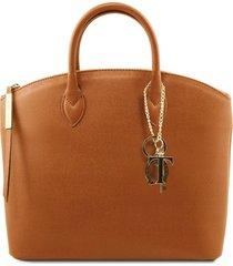 tuscany leather tl141261 tl keyluck - borsa shopper in pelle saffiano cognac