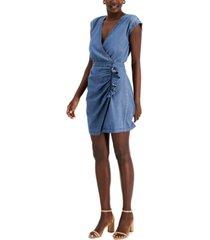 inc international concepts faux-wrap denim dress, created for macy's