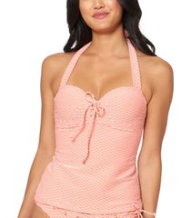 jessica simpson twiggy stripe textured underwire halter tankini top women's swimsuit