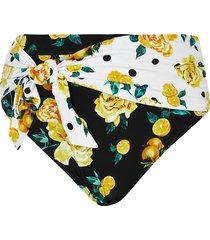 river island womens plus black floral high waist bikini bottoms