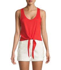 alice + olivia women's jacinda tie-front tank top - bright poppy - size l