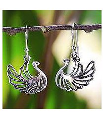 sterling silver dangle earrings, 'swan couple' (thailand)