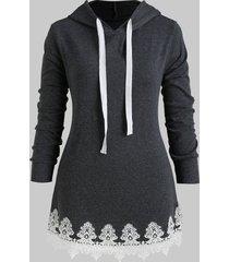 lace panel drawstring longline plus size hoodie