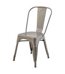 cadeira iron tolix sem braco vintage aco fosco - 29907 preto
