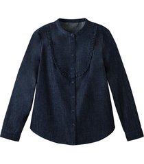 jeansblouse van bio-katoen met bovenstuk met ruches., jeansblauw 46