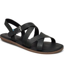 black leather shoes summer shoes flat sandals svart toms