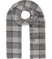 slogan print check scarf