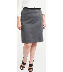 falda recta en tejido de punto jaspeado  negro jasp 16