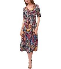 msk paisley faux-wrap midi dress