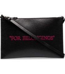 off-white clutch for belongings de couro preta - preto