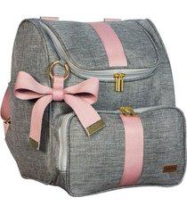 mochila dois em um lyssa baby linho cinza e rosé