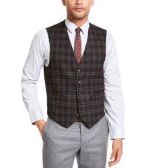 tommy hilfiger men's modern-fit thflex stretch black/red plaid vest